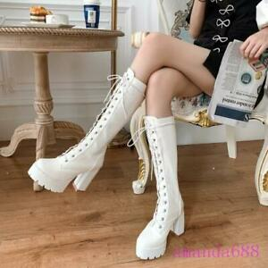 Punk Patent Leather Women's Biker Shoes High Chunky Heels Winter Knee High Boots