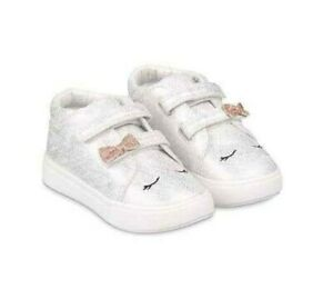 MOTHERCARE Baby Girls Trainers Toddler First Sparkly Silver Character Boots NEW