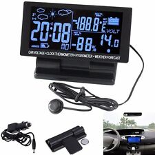 LCD Digital Clock Car Voltmeter Thermometer Hygrometer Weather Forecast