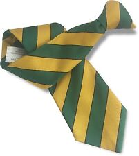Bottle Green and Yellow Gold Mens Clip On Tie Clipper with Narrow Black Stripes