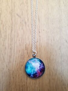 NEBULOSA Galaxi Colgante Collar Regalo 925 Plata Cabujón universo de vidrio