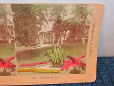Old Antique 1888 HOME SWEET HOME House Estate Flowers Garden Stereoview Card