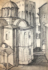 Antique charcoal drawing cityscape cathedral