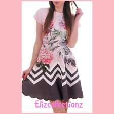e397fc44553f TED BAKER HAILIE PINK   GREY FLORAL ZIZ-ZAG DRESS SIZE 2 UK (10