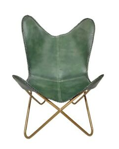 Genuine Green Leather Butterfly Chair Handmade Folding Chair Office Chair S6-68
