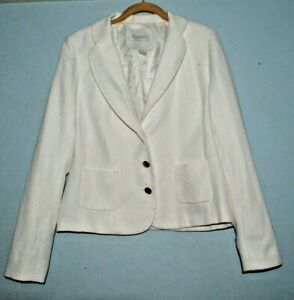 Forever 21  Women Blazer Size L White Textured Gold Buttons Lined Work Career