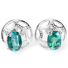 Natural Green TOPAZ Stones Sterling 925 Silver EARRINGS