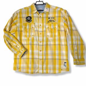 Parish Nation Mens Shirt Sz 2XL Yellow Large Back Graphic Long Tabbed Sleeves