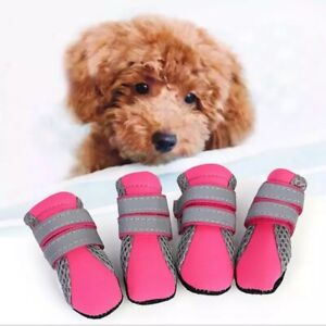 4pcs Anti-slip Breathable Pet Dog Shoes  Walking Puppy Waterproof Boots Summer