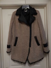 Paparrazi Nubby Knit Coat Jacket W/Leather Trim