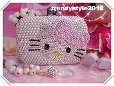 Hello Kitty Pearl w Czech Crystal Diamond Hard Case Clutch Purse Evening Bag!