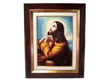 VERY BEAUTIFUL  HANDMADE GOBELIN ICON OF PRAYING JESUS, IN WOODEN FRAME!!!