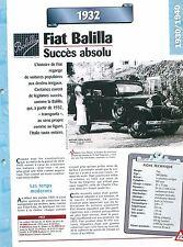 Fiat Balilla 1932  Italie Italy Italia Car Auto FICHE FRANCE