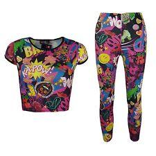 New Girls Comic Print Stylish Crop Top & Comic Book Pinkish Fashion Legging Set
