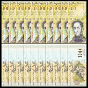 Lot 10 PCS, Venezuela 100000 100,000 Bolivares, 2016/2017, P-New, Banknotes, UNC