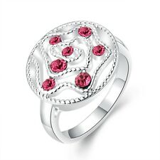 White Gold Plated Pink Zircons Rose Flower Large Women ring 18 mm size Q FR218
