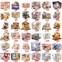 Wood Dollhouse Miniature Furniture DIY Kit Doll House Toy Kids Birthday Gift