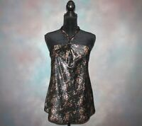 Cato Women's Halter Top Size Medium Black Silky Polyester Floral Print Blouse