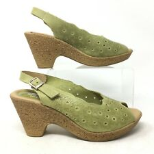 Spring Step Slingback Heels Shoes Peep Toe Cork Floral Leather Green Womens 8.5