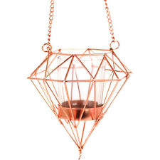 Hanging Geometric Copper Effect Metal Candle Tea Light Holder Lantern Chain 72cm