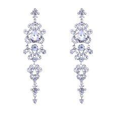 Silver Color Crystal Chandelier Long Women Bridal Jewelry Wedding Accessori@A4Q7