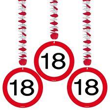 3 Stück Rotor Spiralen Zahl 18. Geburtstag Deko Party Verkehrsschild Dekoration