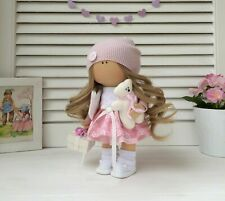 Handmade fabric doll with Teddy for home decor and interior design 10'' gift toy