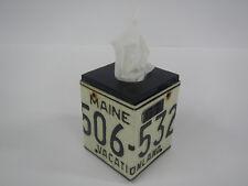 Tissue Box Cover License Plate Maine State Black White ME Rustic Home Decor
