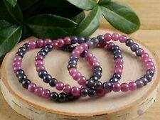 SAPPHIRE & RUBY Healing Crystal Round Beaded Bracelet- Friendship Bracelet E1035