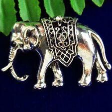 SH2869 Carved Tibetan Silver Elephent Pendant Bead Brooch 40x27x6mm