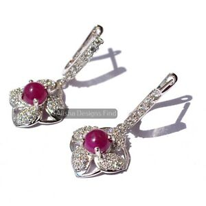 Natural Ruby Round Cabochon 925 Sterling Silver Women Dangle Drop Earrings