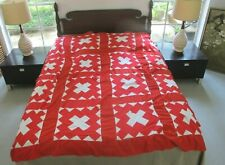 For Blocks & Material: Vintage Red & White Hand Pieced Chimney Sweep Quilt Top