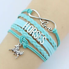 Infinity Love HORSES W/ Cute Horse Charm Bracelet Multi Color New Free Tracking