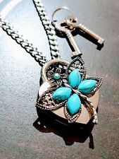 Dragonfly Turquoise Heart Lock Necklace Day Collar Stainless Steel BDSM Fetish