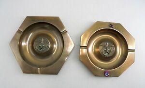 2 Vintage Brass Marine Corps Ashtrays, 1972, 18 Feb 1970, Captain H.J. Abraham