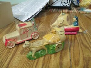 Celluloid Toy Lot Easter Christmas Car Boat Rabbit Wagon