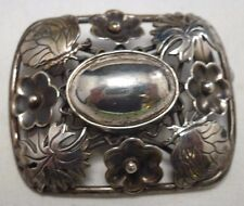 RARE HENRY ROLAND 830S STERLING SILVER DANISH BUTTERFLY + FLOWER PIN BROOCH