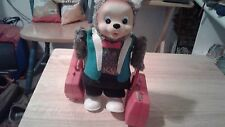 TRAVELING / TUMBLING BEAR WITH SUITCASES Old Battery Toy WORKING Vintage Japan