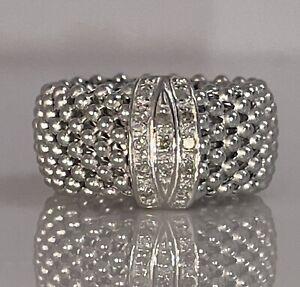 925 Sterling Silver Diamond Mesh Ring Size 7.25