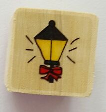 Wood Backed Rubber Stamp Old Fashioned Victorian Street Lamp Christmas