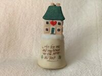 "Enesco ""As for Me and My House..."" Collectible Bisque Thimble"