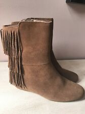 Womans ISOLA 'Tricia' Suede Fringed Hidden Wedge Ankle Boots sz 6.5 M New