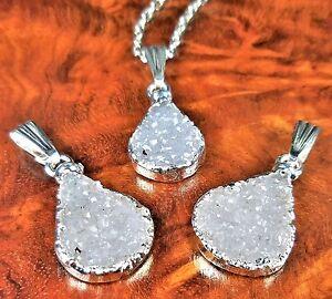 Teardrop Necklace Petite Druzy Agate Silver Pendant Y9 Healing Crystals Stones