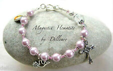 ✫MAGNETIC HEMATITE✫ PINK HANDCRAFTED ROSARY BRACELET