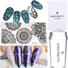 3Pcs Nail Stamping Plates Clear Stamper Scraper Nails Stamping Design Tool Kit