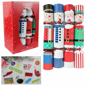 12 Pack Family 30cm Christmas Crackers - Santa and Friends