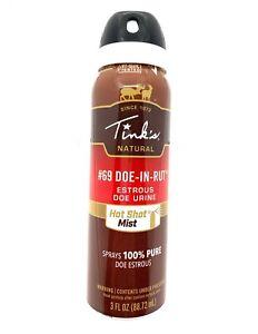 Tink's #69 Doe-In-Rut Estrous Doe Urine Hot Shot Mist Spray 3 oz Can W5310