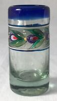 Handblown Art Glass Bud Vase Cobalt Blue Hand Painted Floral Band 3.5""