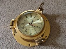 """Vintage """"Ship's Time"""" Nautical Brass Porthole Clock With Quartz As Is"""