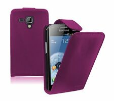 PURPLE  Samsung Galaxy Trend Plus (GT-S7580) Leather Flip Case Cover Pouch